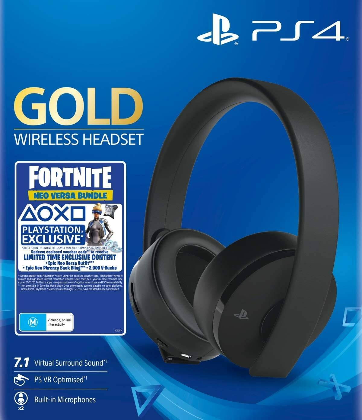 Sony Gold Black Wireless 7.1 Gaming Headset