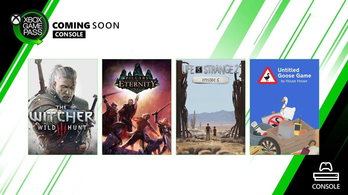 Xbox Game Pass: ecco Untitled Goose Game, Life is Strange 2 Ep. 5, Pillars, The Witcher 3