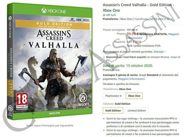 Assassin's Creed Valhalla, la data d'uscita spunta su Amazon Italia